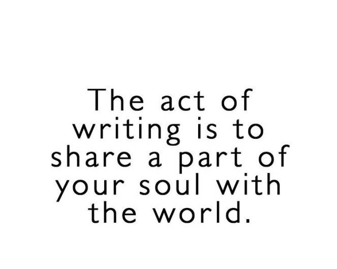 The act of writing